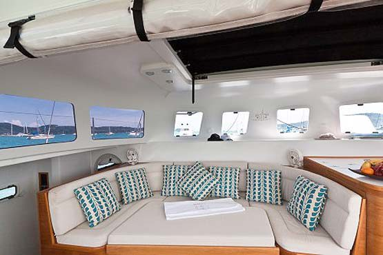 Sailing & Racing Catamaran saloon seating area