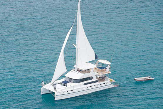 Luxury Sailing & Motor Catamaran cruising in the Andaman Sea
