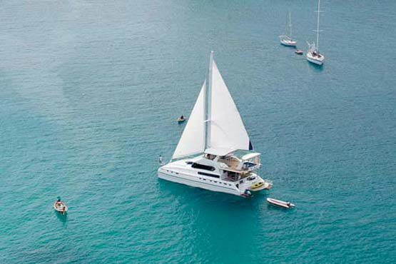 Luxury Sailing & Motor Catamaran under sail from above