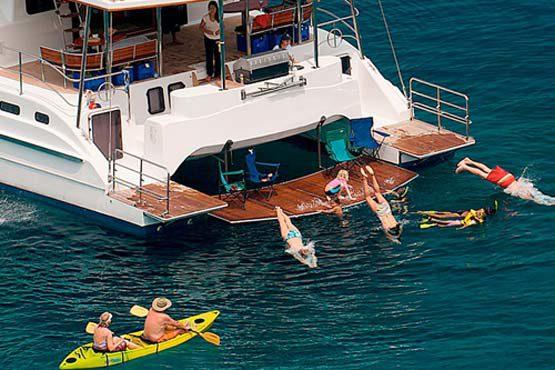 Luxury Sailing & Motor Catamaran swimming & kayaking