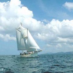 Classic Schooner Sailing Yacht under full sail off Phuket