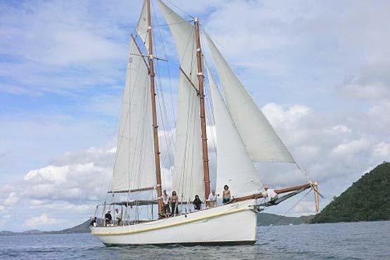 Classic Schooner Sailing Yacht on a gentle breeze