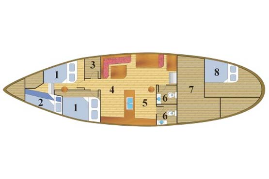 Classic Schooner Sailing Yacht deck plan