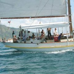 Classic Schooner Sailing Yacht covered rear deck