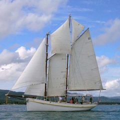 Classic Schooner Sailing Yacht heading out from Chalong