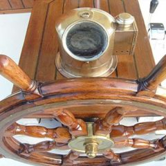 Classic Schooner Sailing Yacht the ships wheel