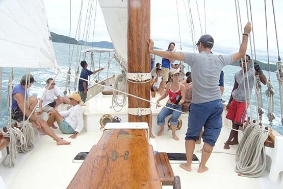 Classic Schooner Sailing Yacht underway on deck