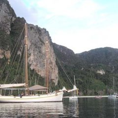 Classic Schooner Sailing Yacht at anchor in Phi Phi