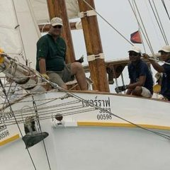 Classic Schooner Sailing Yacht from the bowsprit