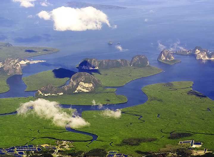 Arial view of Phang Nga Bay
