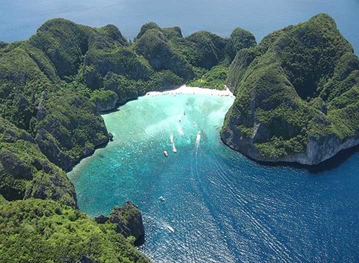 Phi Phi Island, arial view of Maya Bay