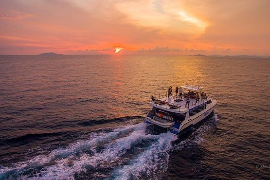 Power Catamaran doing a Sunset Island Hopping Trip